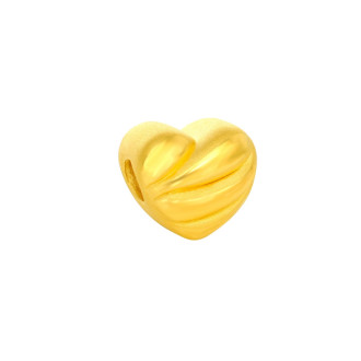 999 Gold Beating Heart Charm