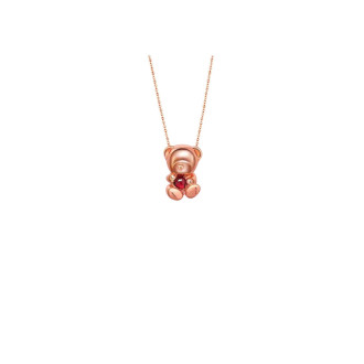 3D Bear-shaped Necklace with Red Tourmaline