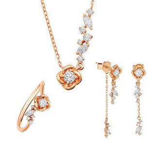 Petaled Love Diamond Si Dian Jin Wedding Set