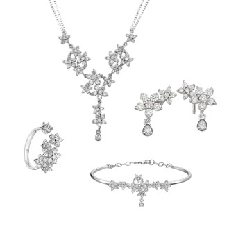 Star Blossoms Diamond Si Dian Jin Wedding Set