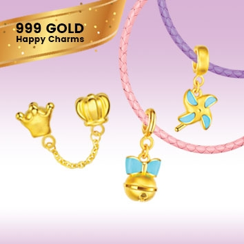 999 Gold Happy Charm